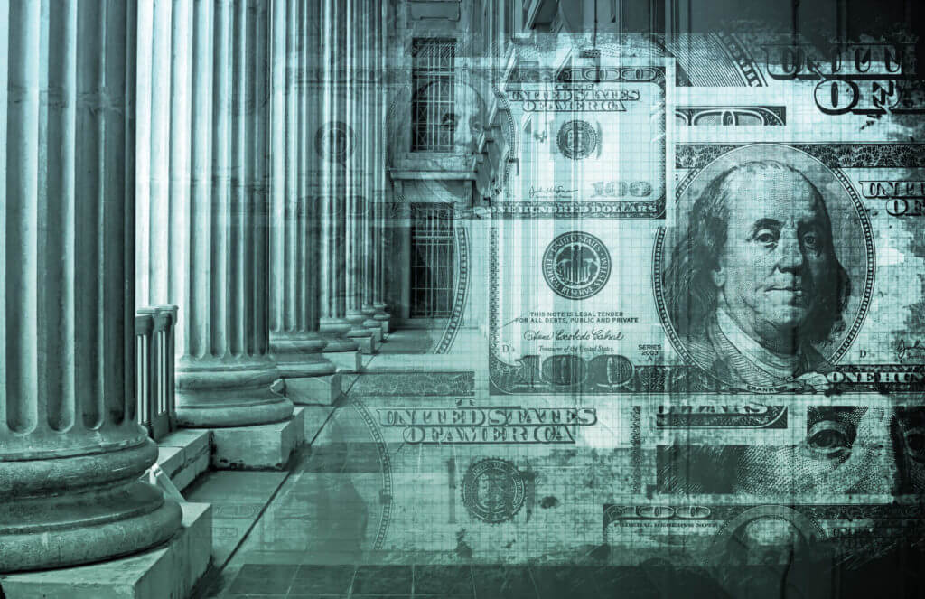 U.S. currency image imposed over building with columns