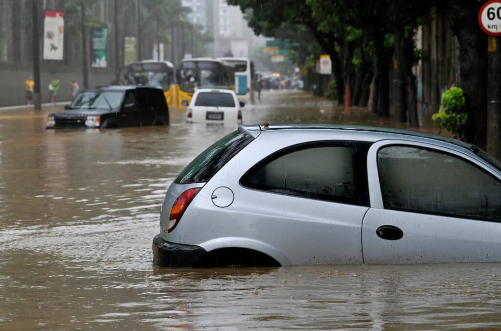 car submerged in flood