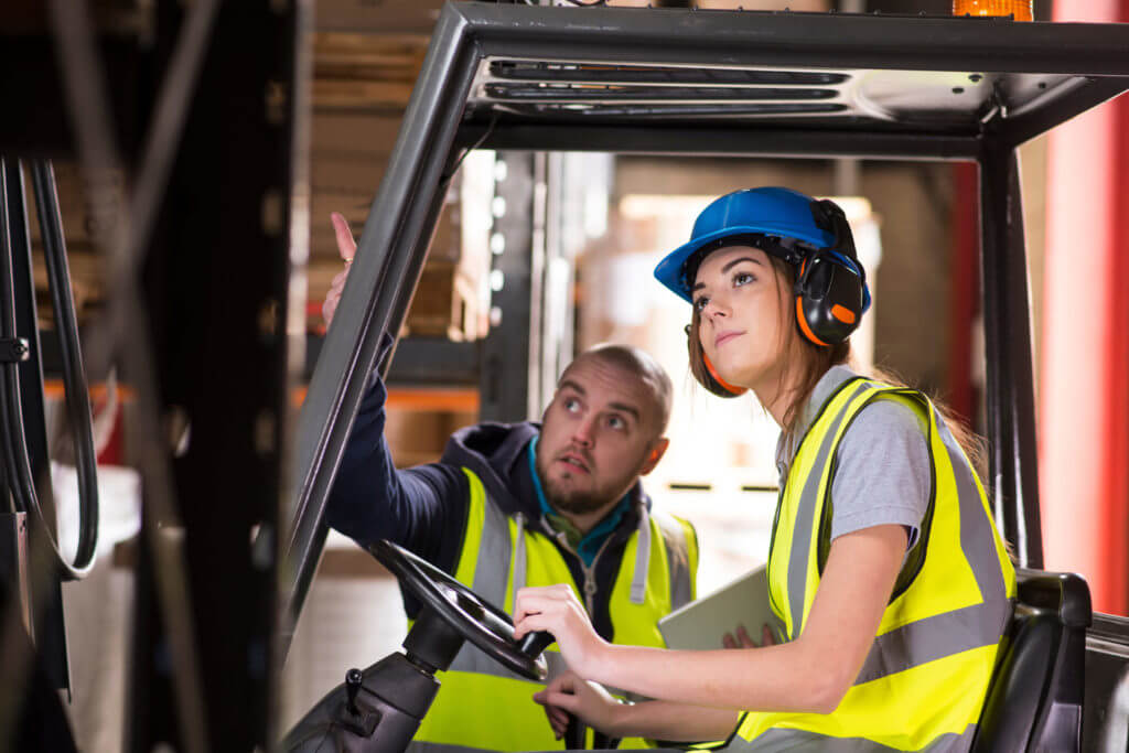 forklift driver receiving training