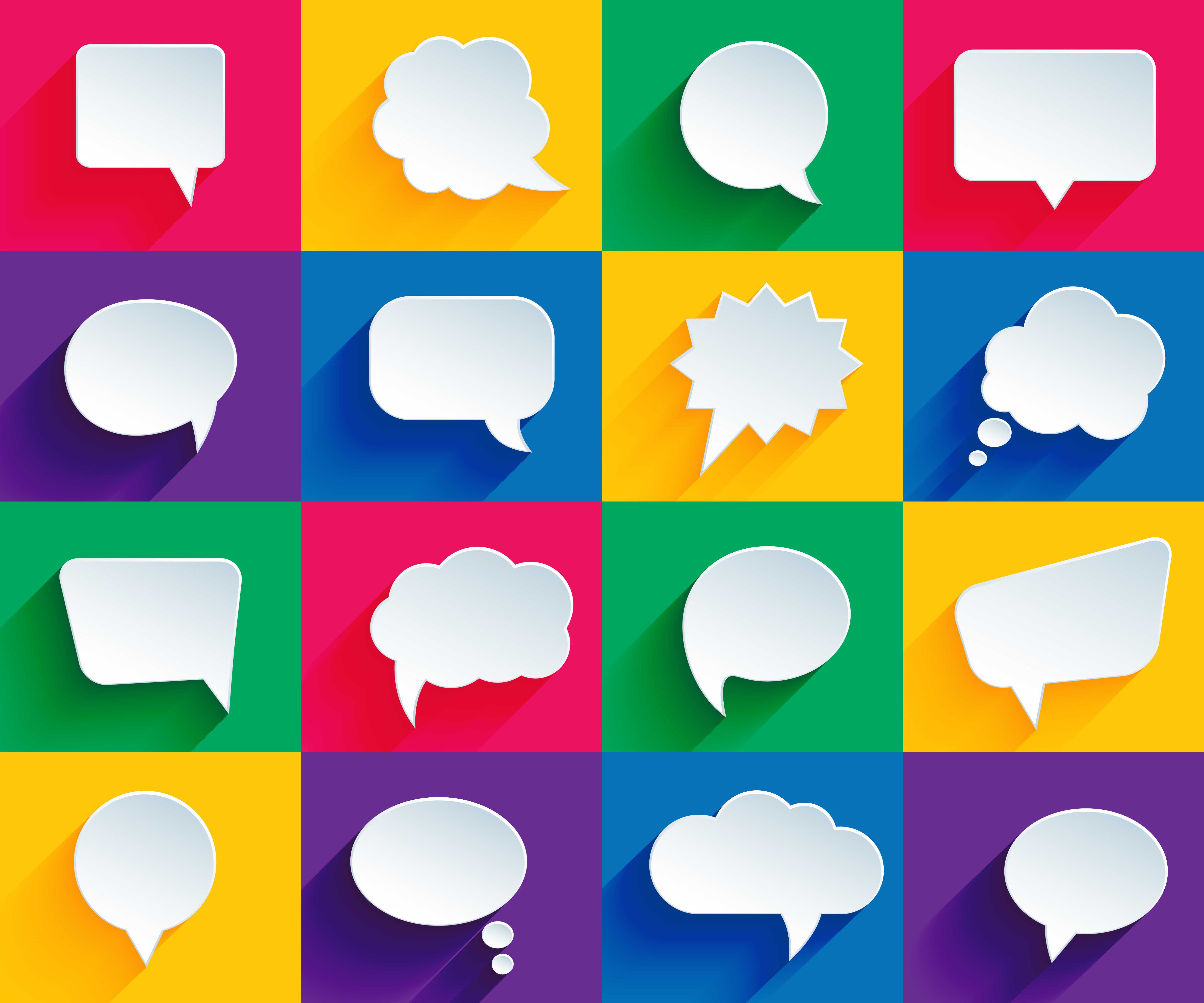 speech bubbles on color backgrounds