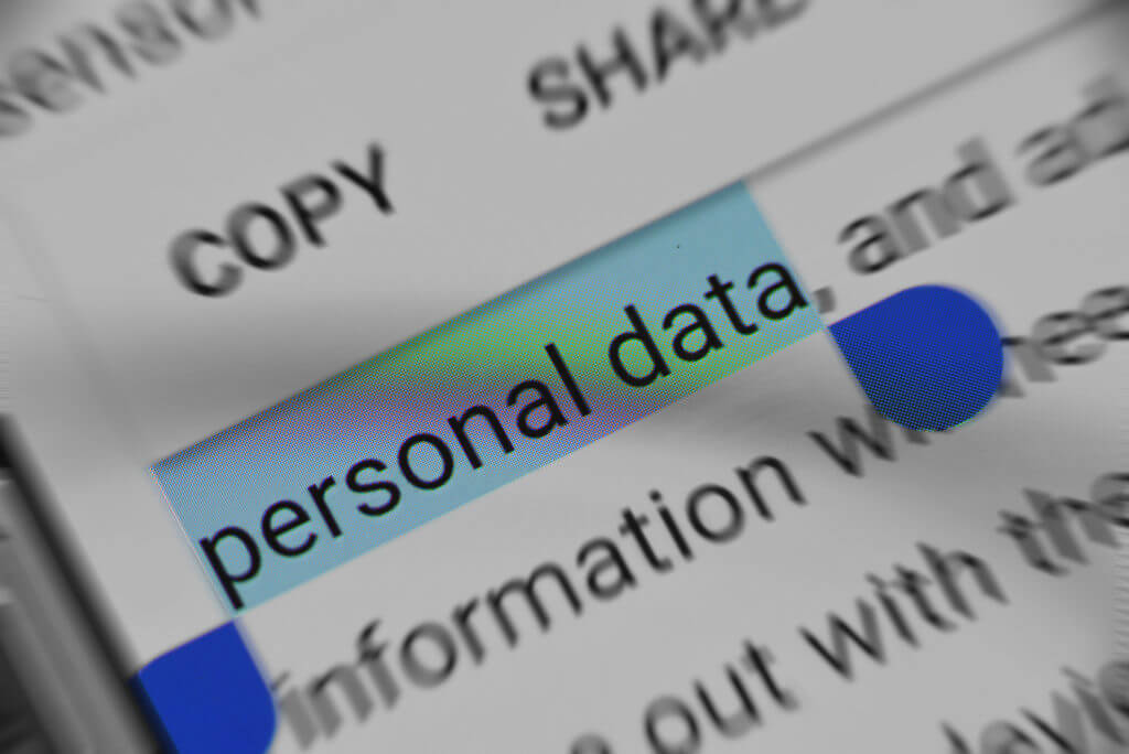 """text """"personal data"""" highlighted in document"""