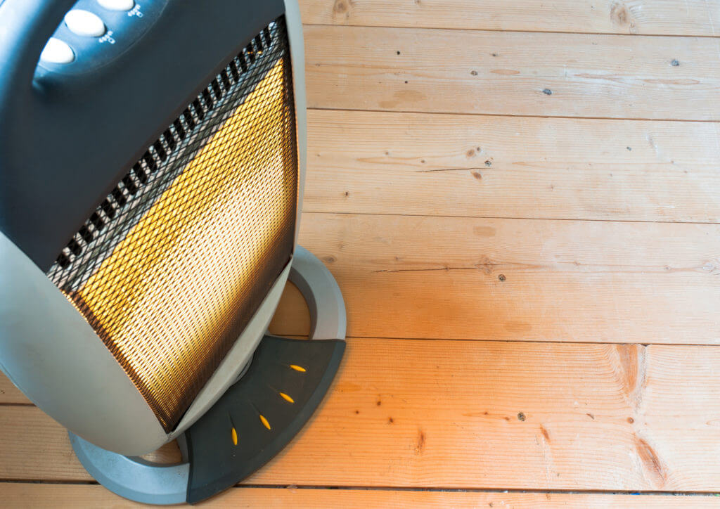 electric heater on wood floor