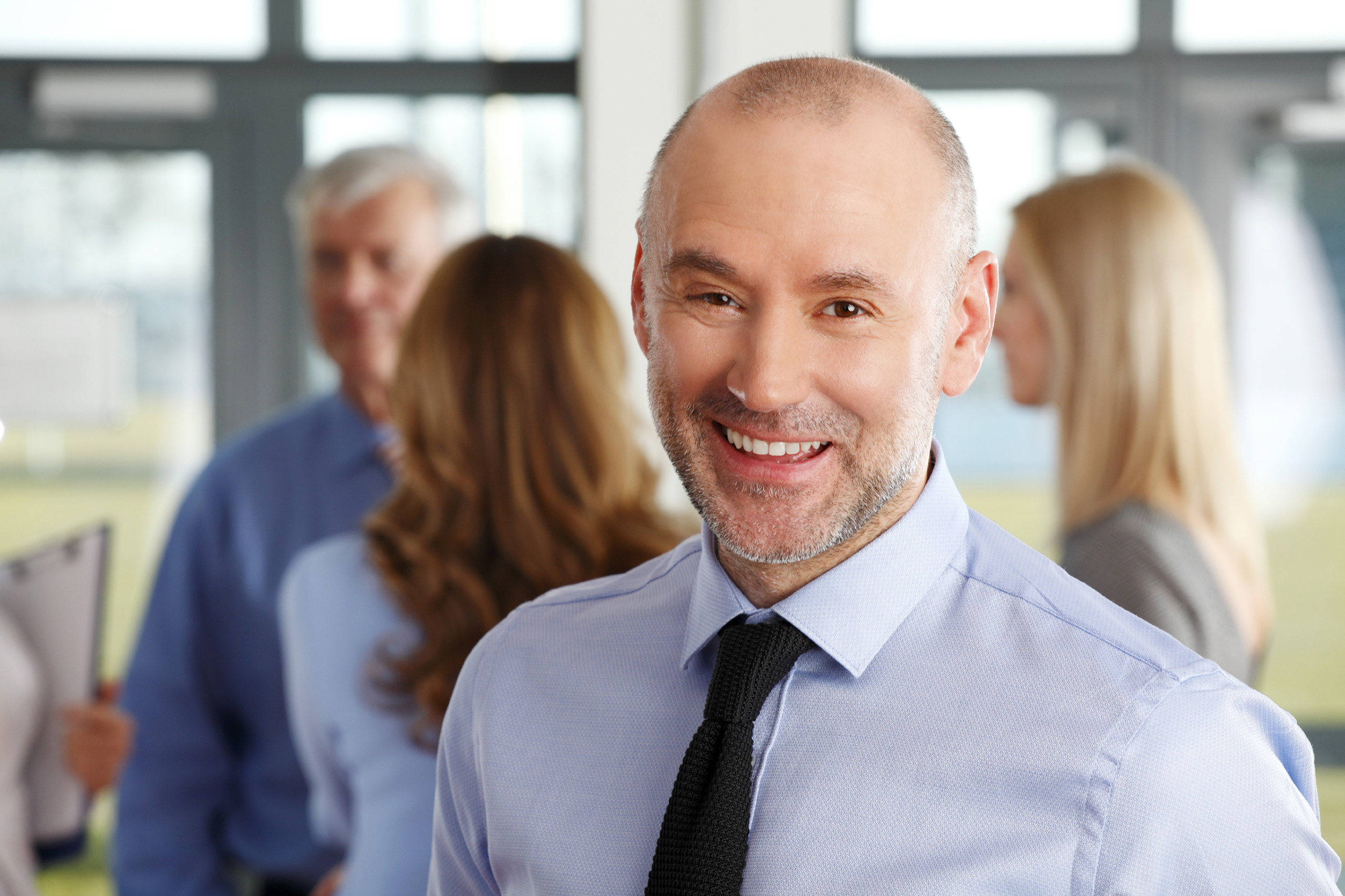 office worker smiling