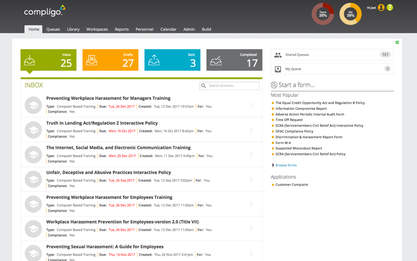 compligo dashboard
