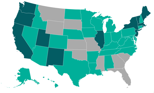 US Map Shaded by Regulatory Updates
