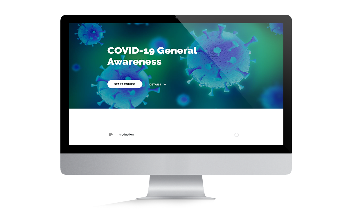 thumbnail featuring the caronvirus general awareness training on a flat screen computer monitor