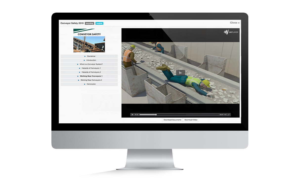 Conveyor Online Training Monitor for Training page