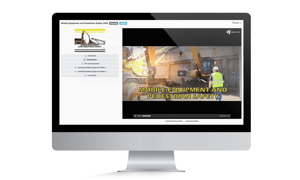Mobile Equipment Online Training Monitor for Training page