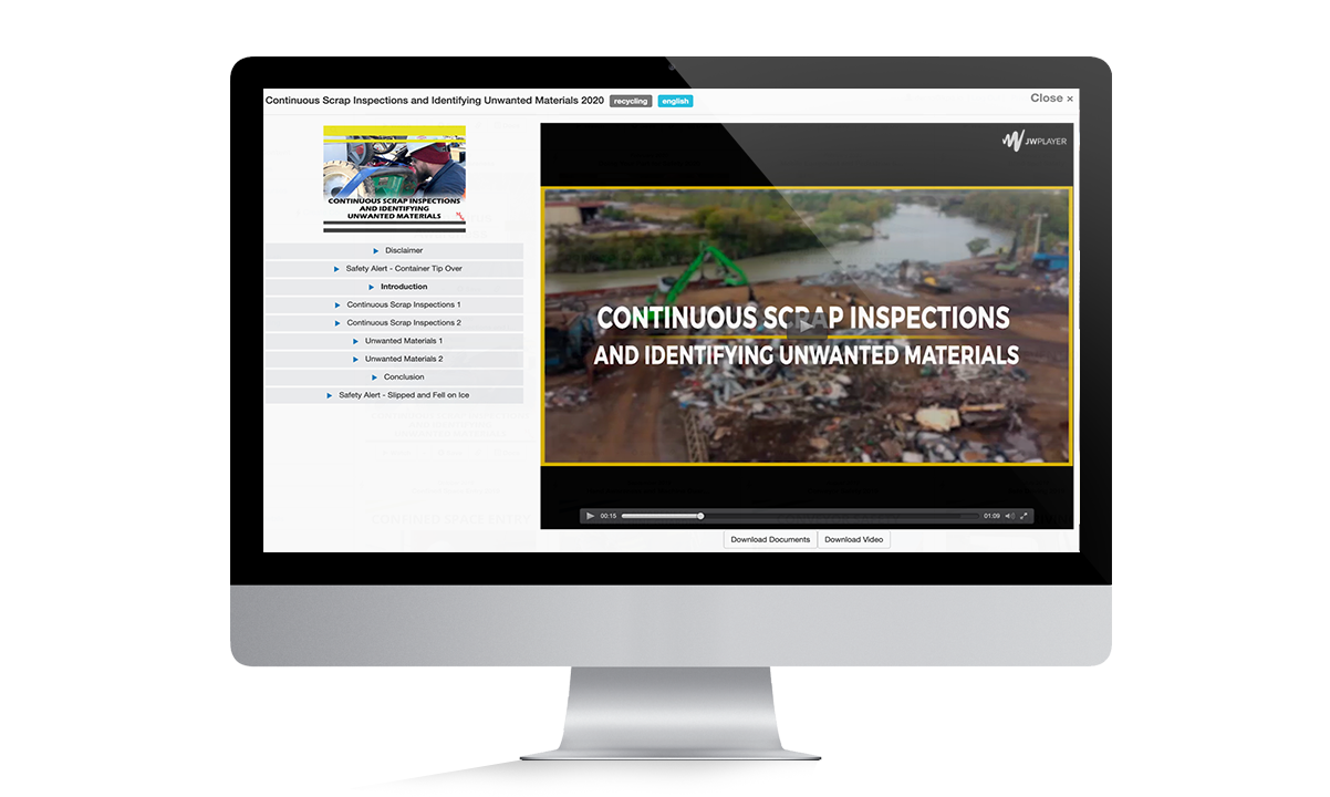 Scrap Inspections Monitor for Training page
