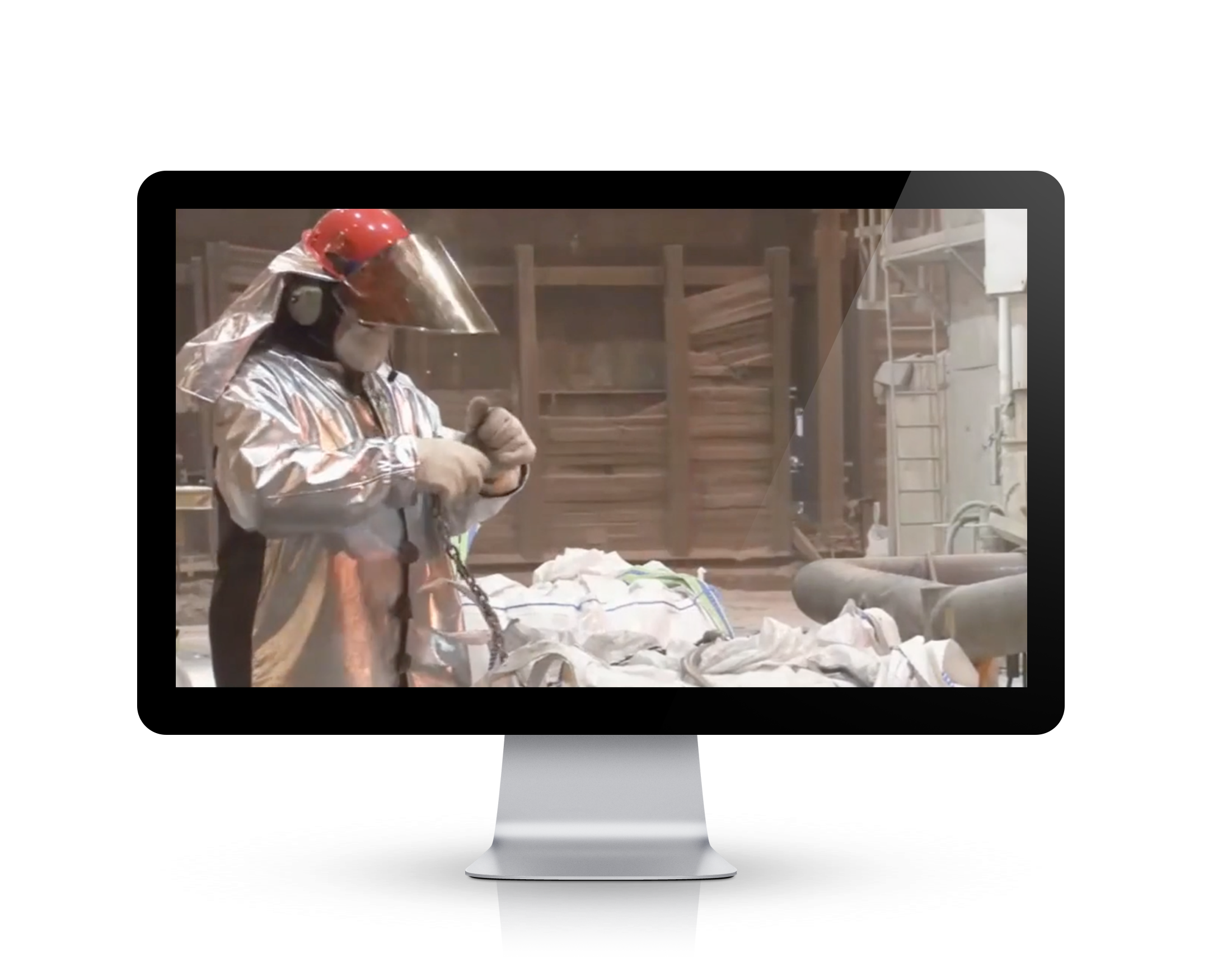 PPE Hearing Conservation Pipe and Wire training video image overlaid onto a Video Base