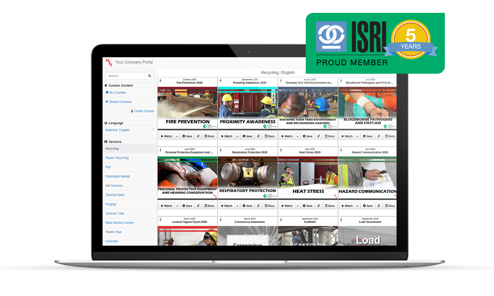 Subscription to Safety video library on a desktop display with an ISRI member badge