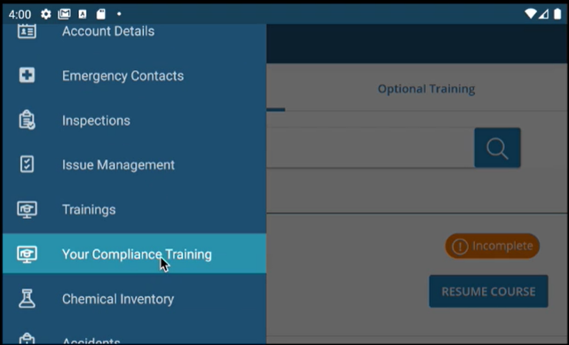 KPA Mobile EHS Training Tab