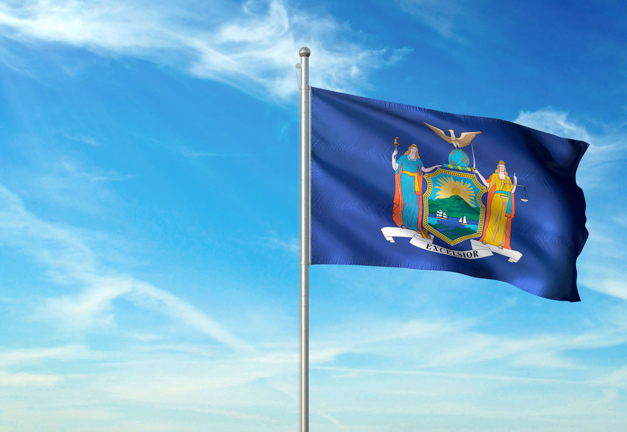 New York state of United States flag waving cloudy sky background