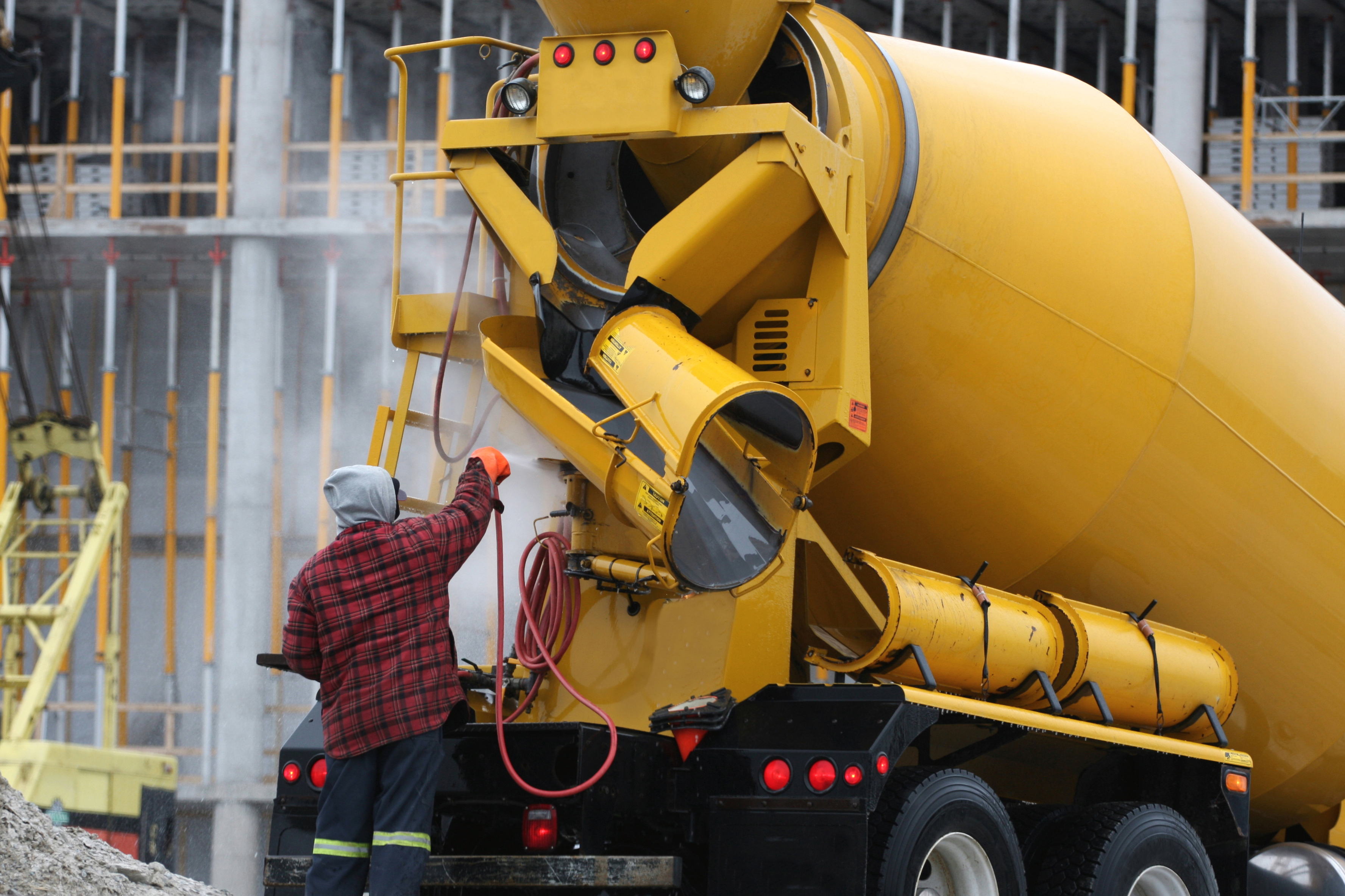 Washing A Cement Truck