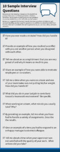 """Infographic of """"10 Sample Interview Questions"""""""