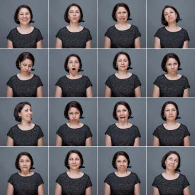 multiple images of person making facial expressions
