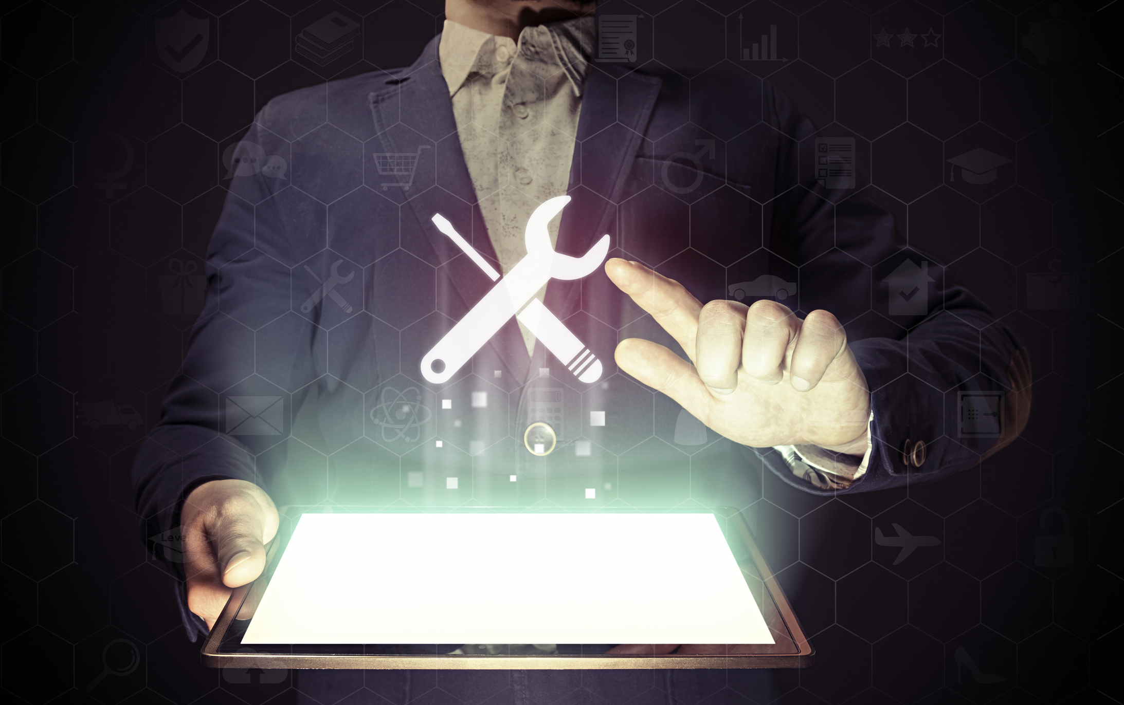 person with tablet and tool icon