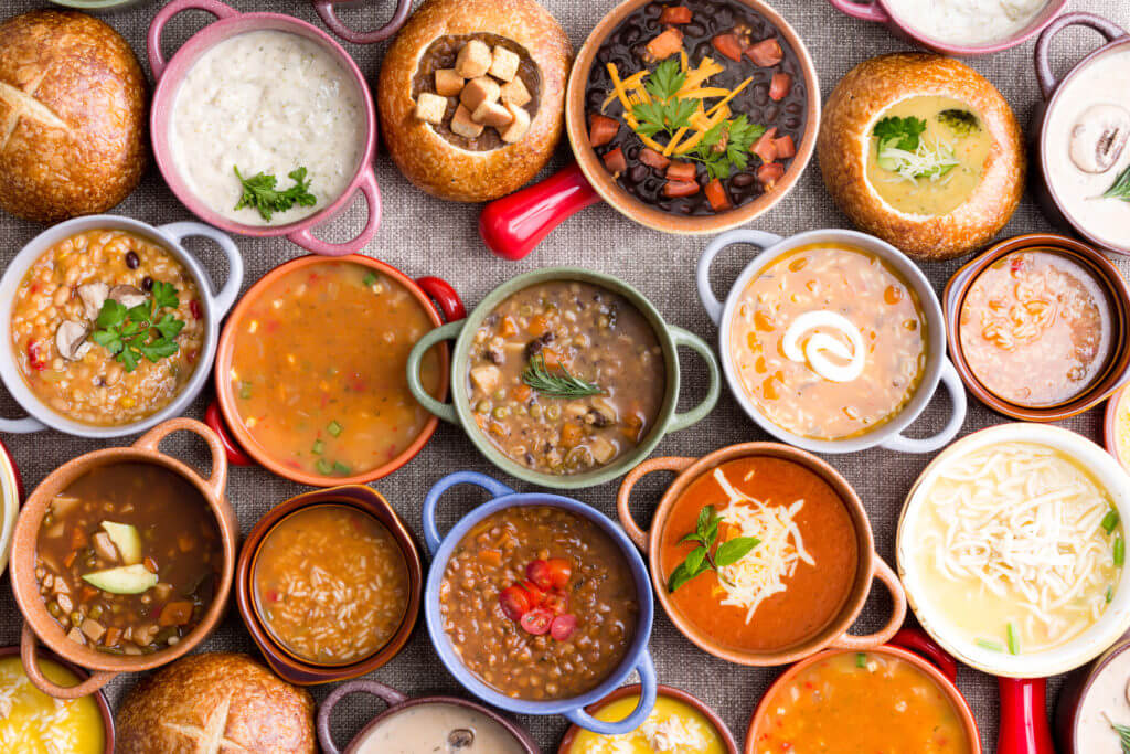 variety of garnished soups