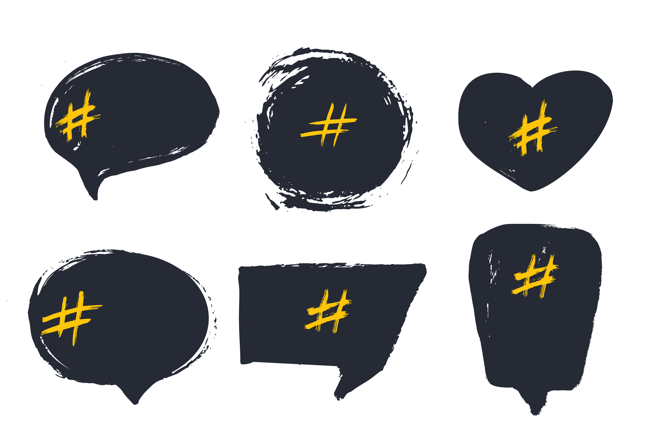 images of speech bubbles with hashtag icon