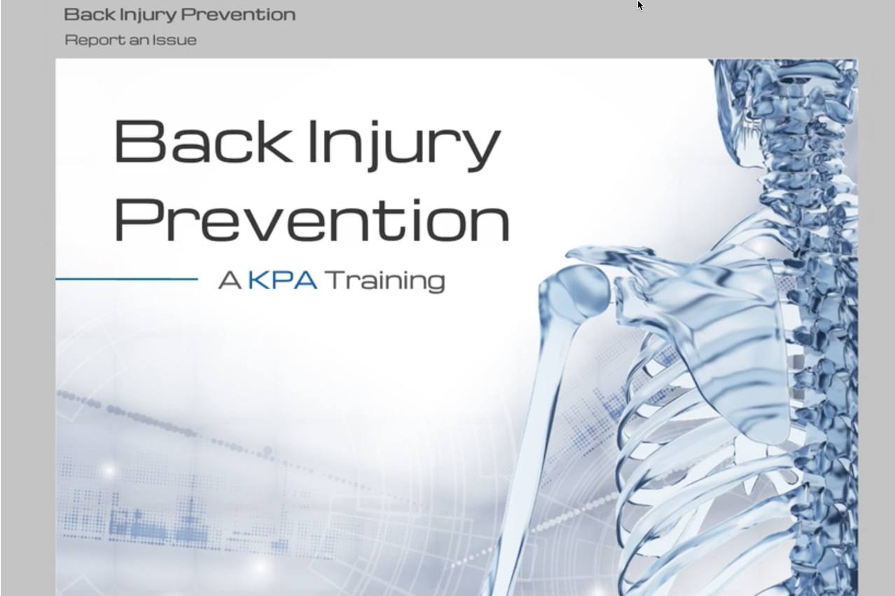 Back Injury Prevention Training Still