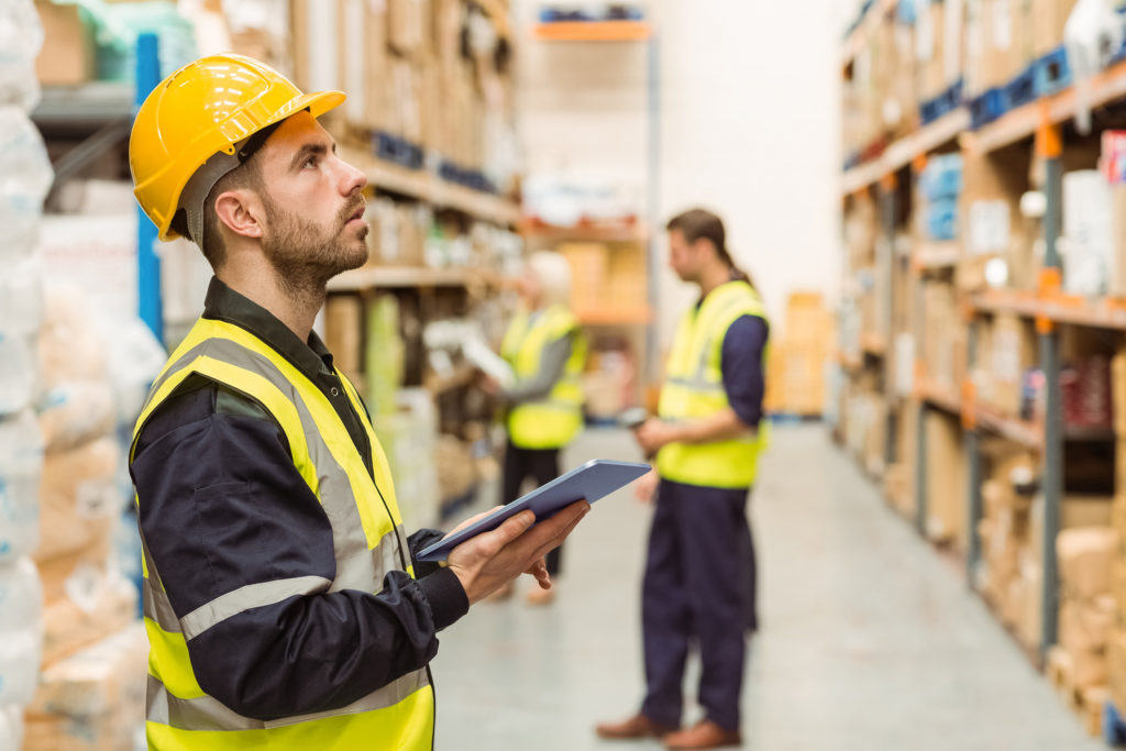 warehouse worker with tablet