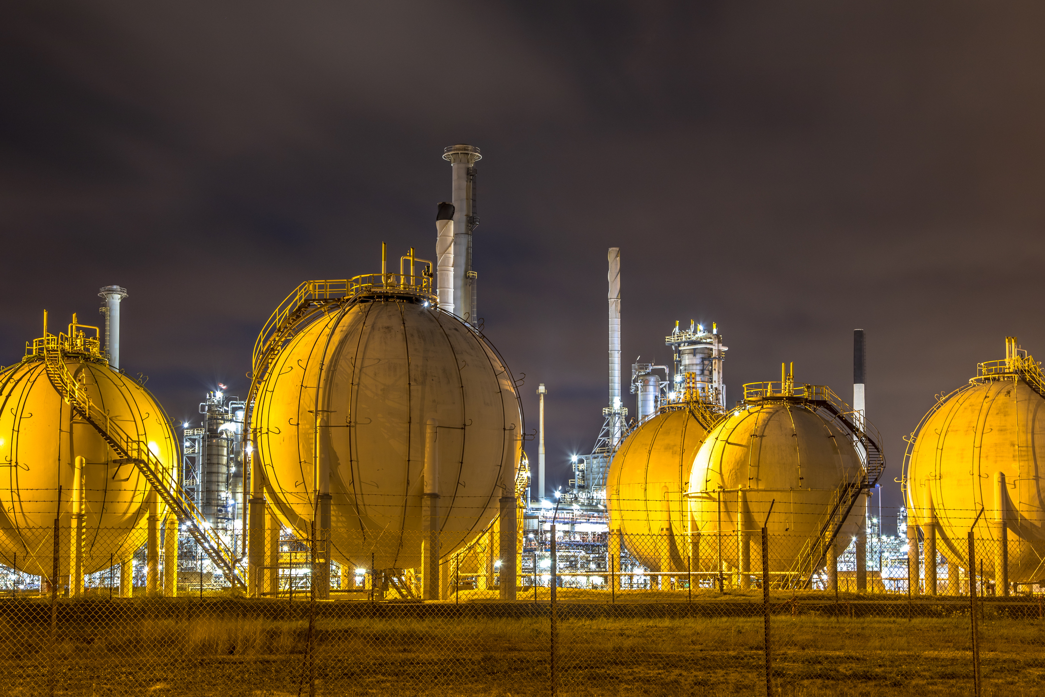 Liquid Natural Gas globe shape containers
