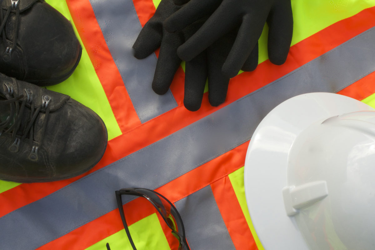 safety pro's wear personal protective gear: gloves, hard hats, gloves, steel toed boots, and eye covering.
