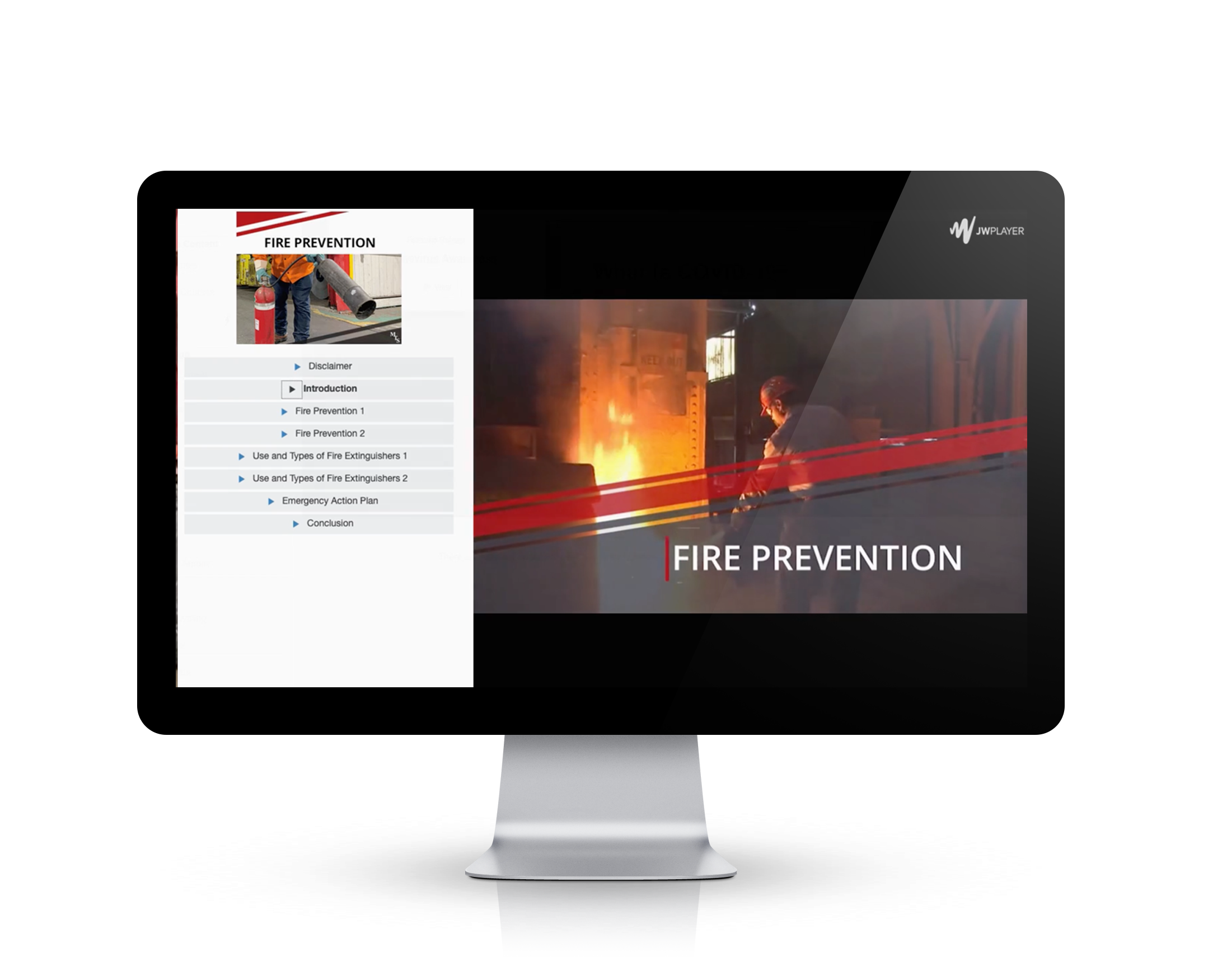 Fire Prevention safety training still on a video base