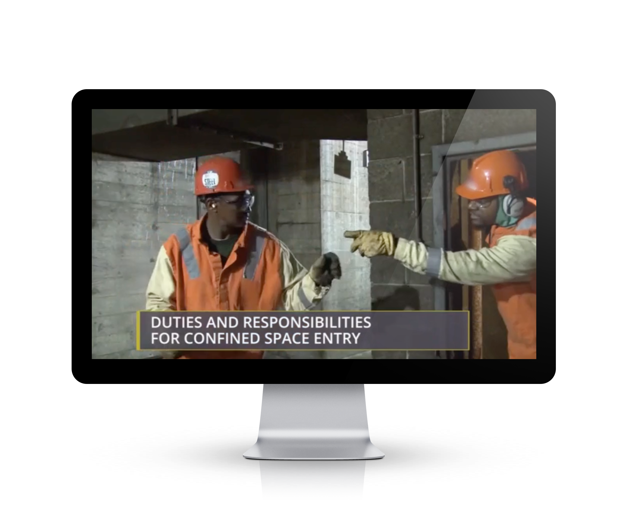 Confined Spaces Steel training video screen shot on an Video Base