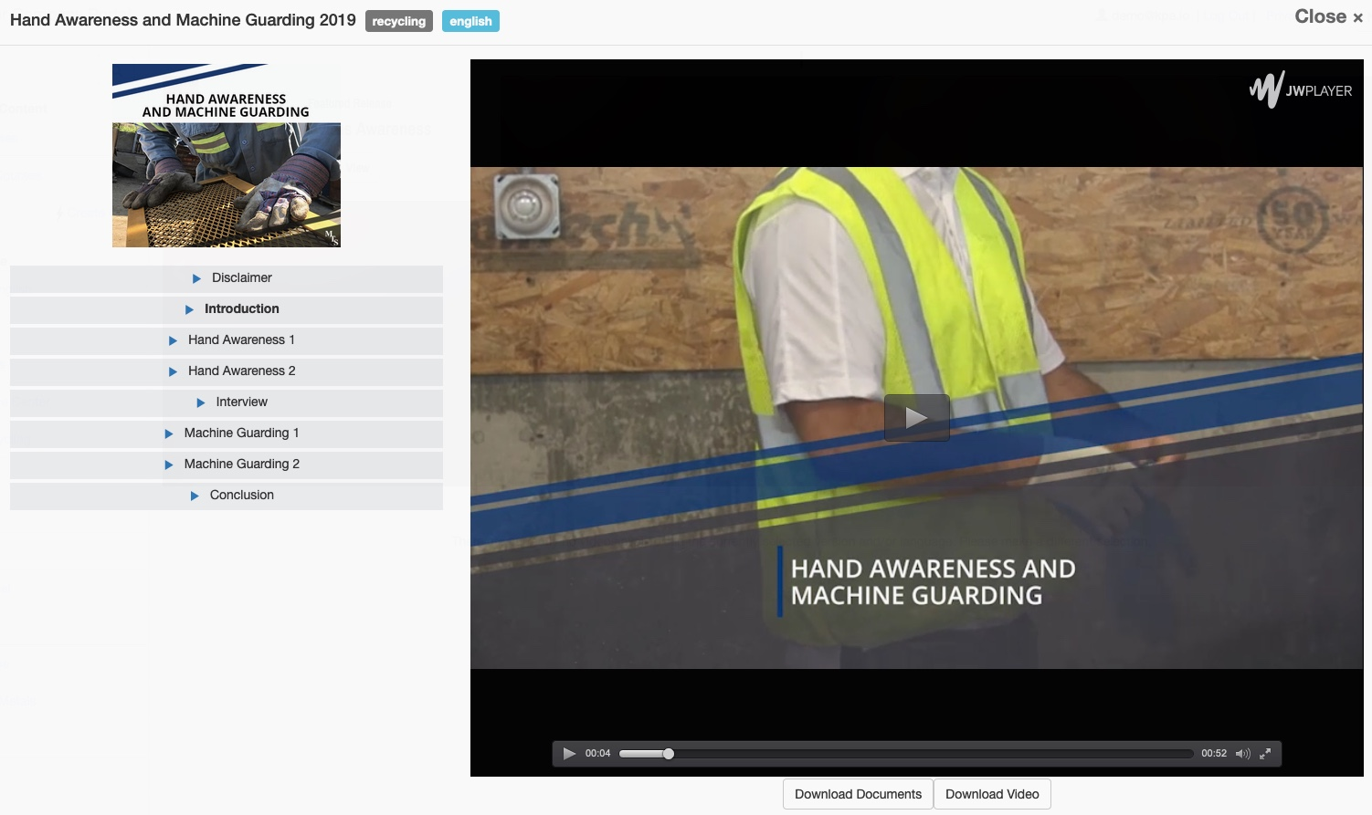 Machine Guarding and hand awareness online training video screenshot