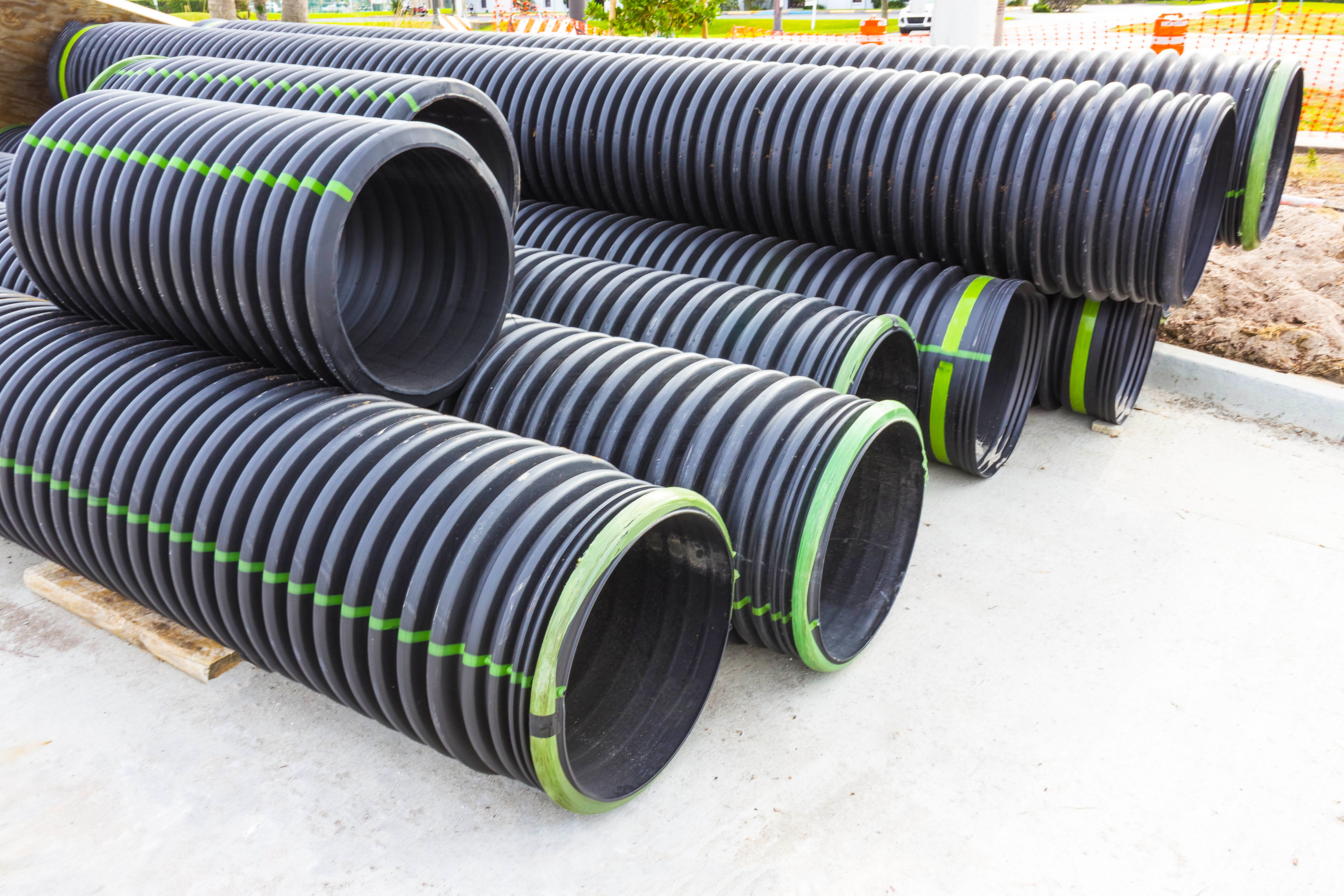 Pile of PVC pipe for manufacturing plant