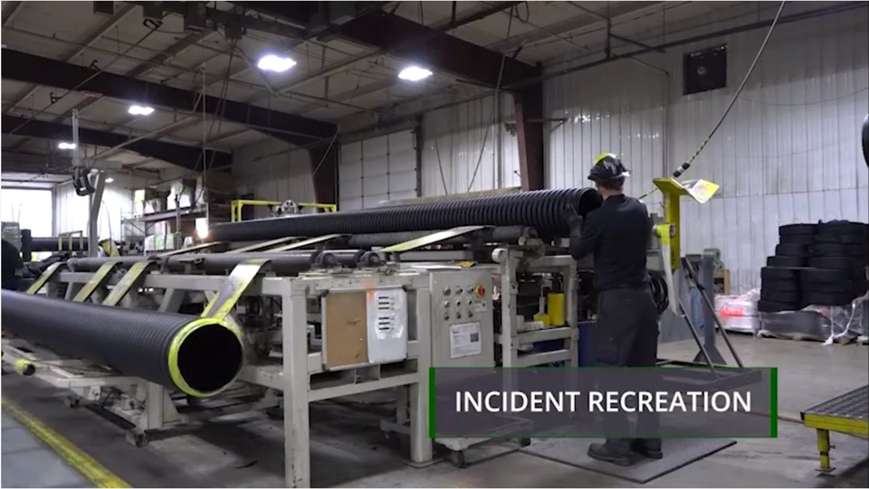 Plastic Pipe Laceration Safety Incident Recreation Still