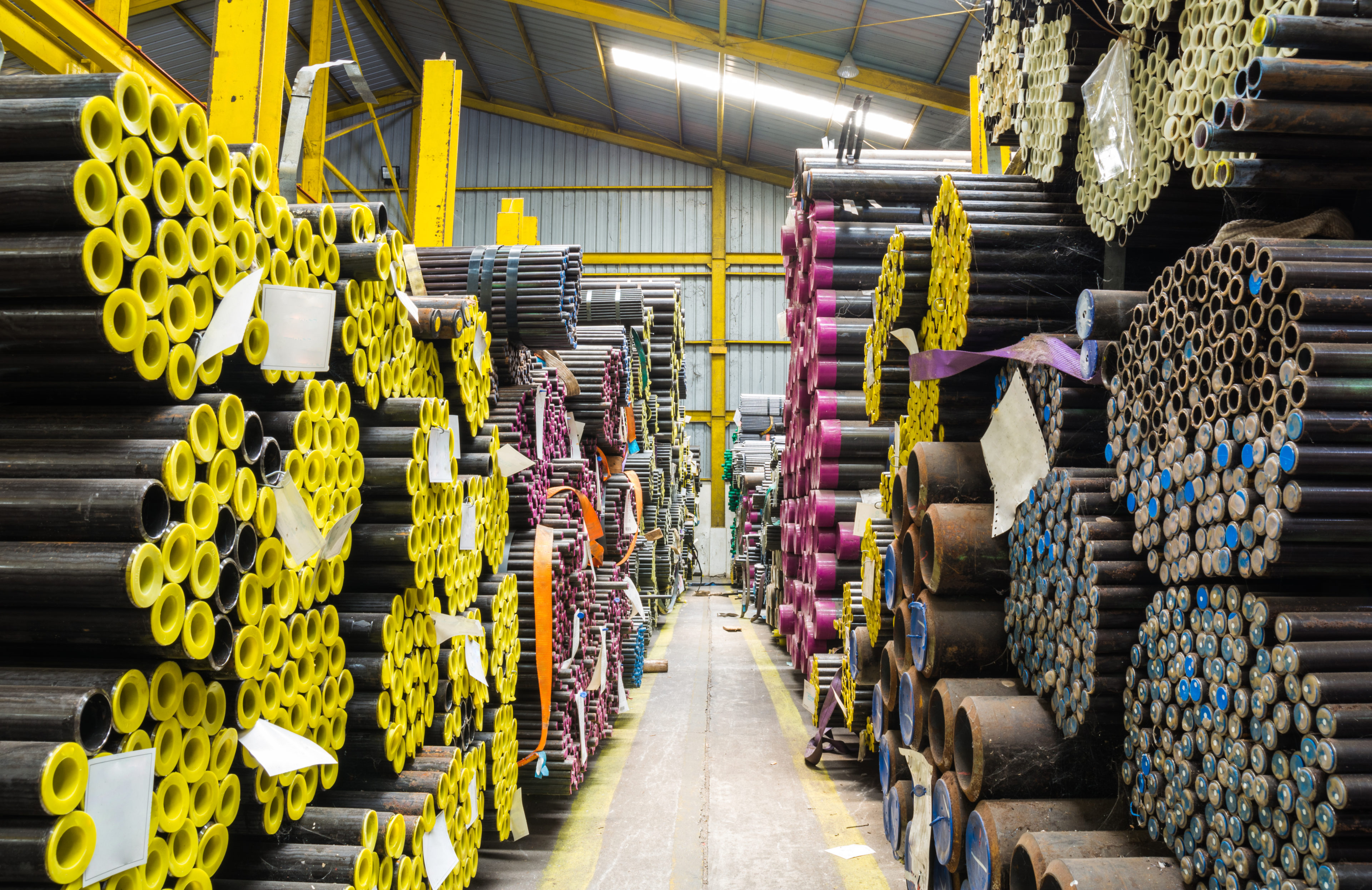 Steel pipes storage in warehouse